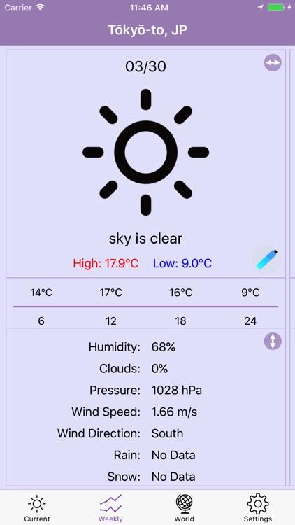 FLAT Weather Clock for iPhone screenshot-3