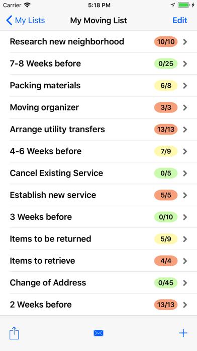Moving Checklist Pro review screenshots
