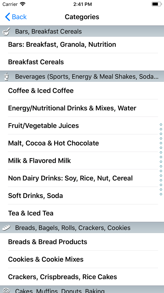 CalorieKing Food Search Screenshot