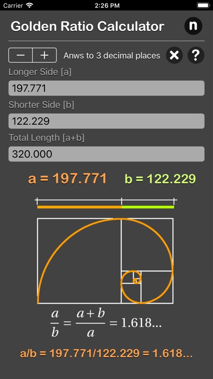 Golden Ratio Calculator Plus screenshot-4