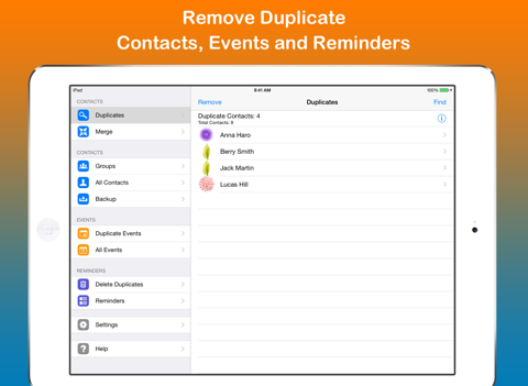 Скриншот из Remove Duplicate Contacts +