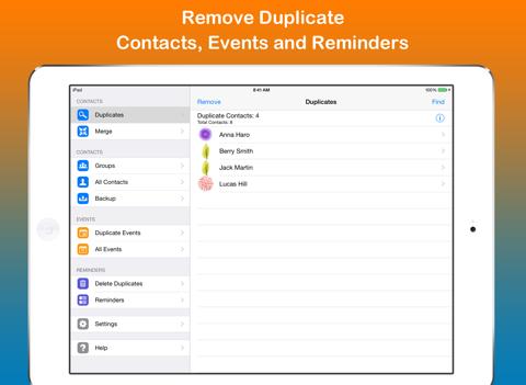 Скриншот из Remove Duplicate Contacts +