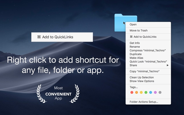 QuickLinks - Shortcut Creator Screenshot