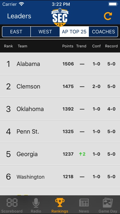 SEC Football Scores screenshot-2