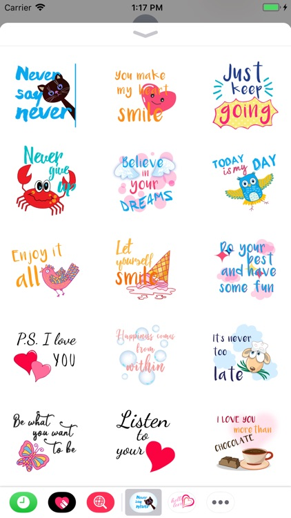 Happy stickers and quotes