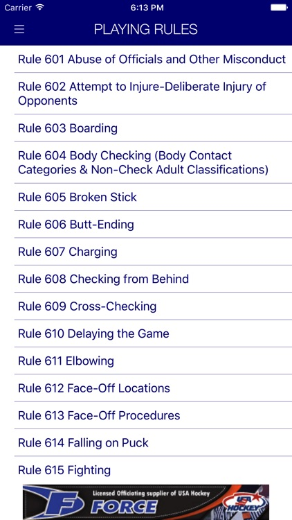 USA Hockey Mobile Rulebook