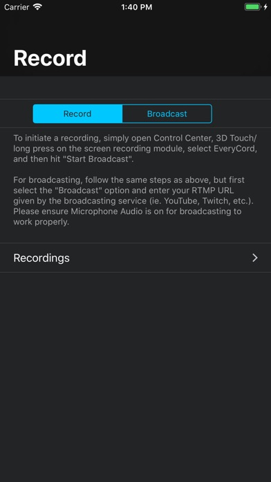 EveryCord – Record & Broadcast Screenshots