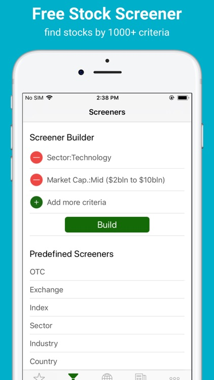 Stock Screener: stocks tracker