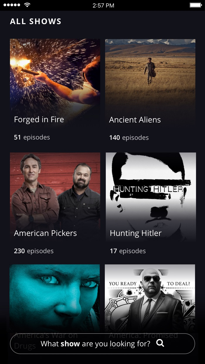 HISTORY TV Shows Screenshot