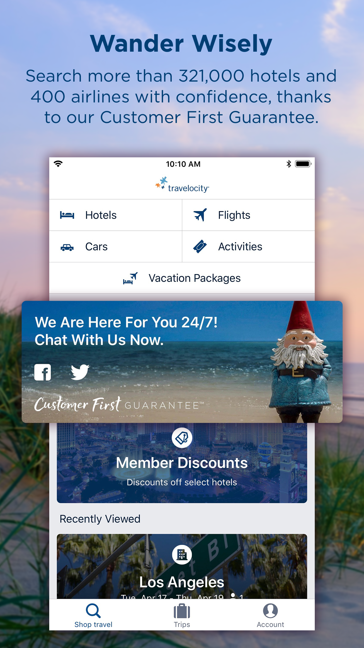 Travelocity Flight, Hotel, Car Screenshot