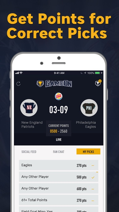 Screenshot for GameOn - Sports Picks in United States App Store