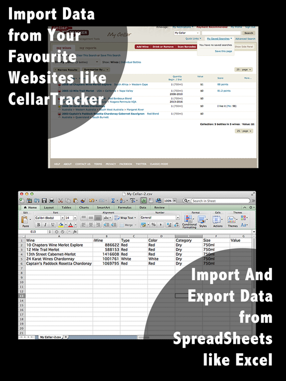 Wine Cellar Database  - search and manage your delectable vino winery finder. Rate, track and share your wines screenshot