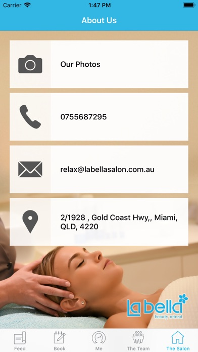 Screenshot of La Bella Beauty Retreat App