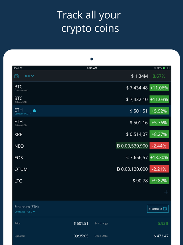 HODL Real-Time Cryptocurrency Screenshot