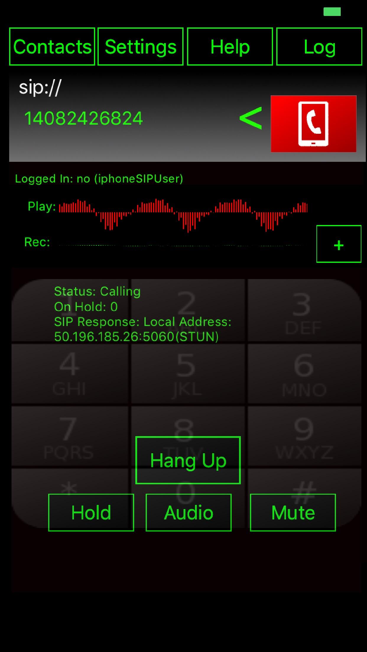 WeePhone SIP Screenshot