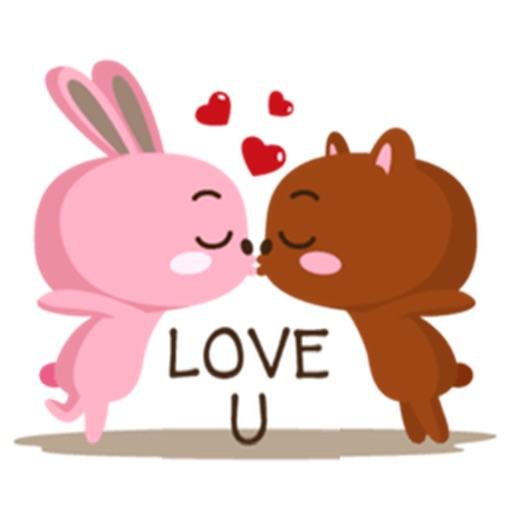 Bear and Rabbit Love LoveMoji iOS App