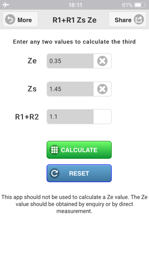 ‎R1+R2 Zs Ze Calculator Screenshot