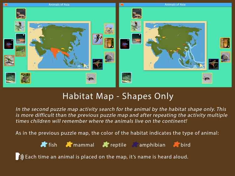 Animals of Asia - Montessori Geography For Kids screenshot-3