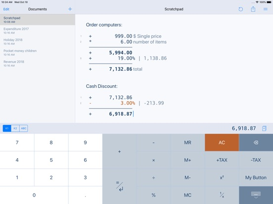 CalcTape Paper Tape Calculator Screenshots