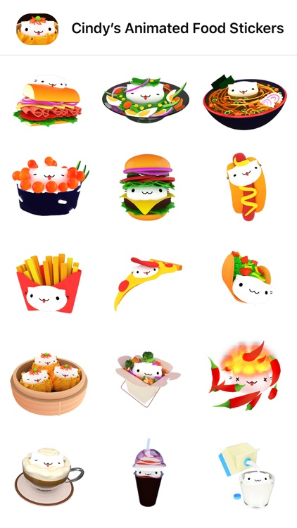 Cindy's Animated Food Stickers