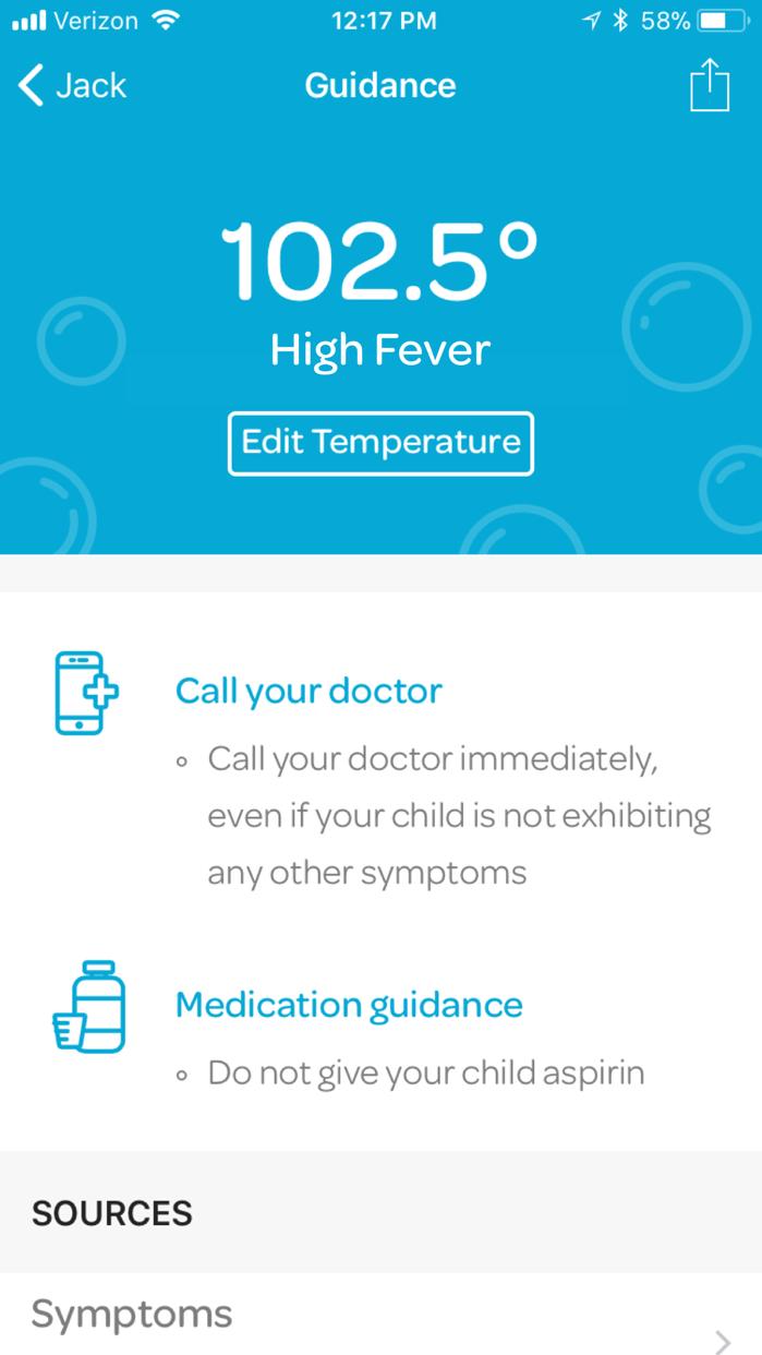 Kinsa Smart Thermometer Screenshot