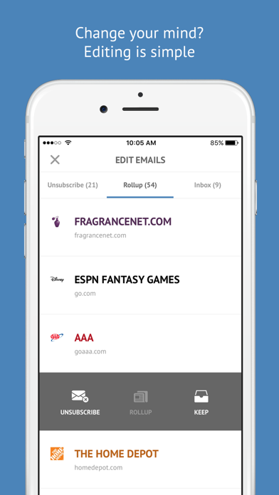 Screenshot 3 for Unroll.me's iPhone app'