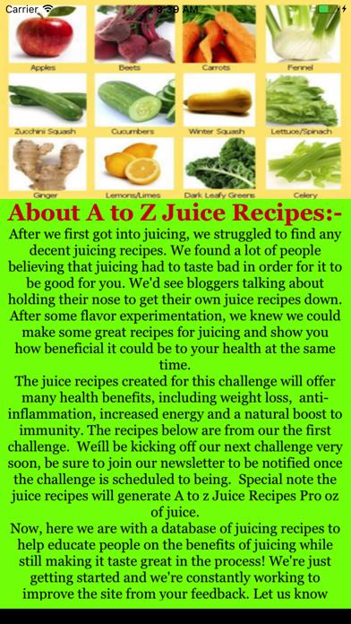 A to Z Juice Recipes Pro Screenshot