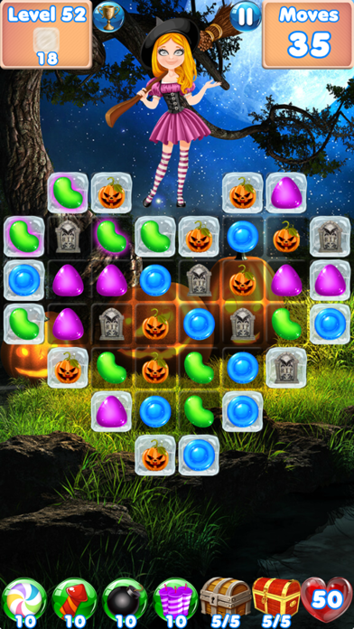 Candy Halloween Games Match 3 free Moves and Lives hack