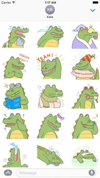 Cute Crocodile Emoji Sticker screenshot 2
