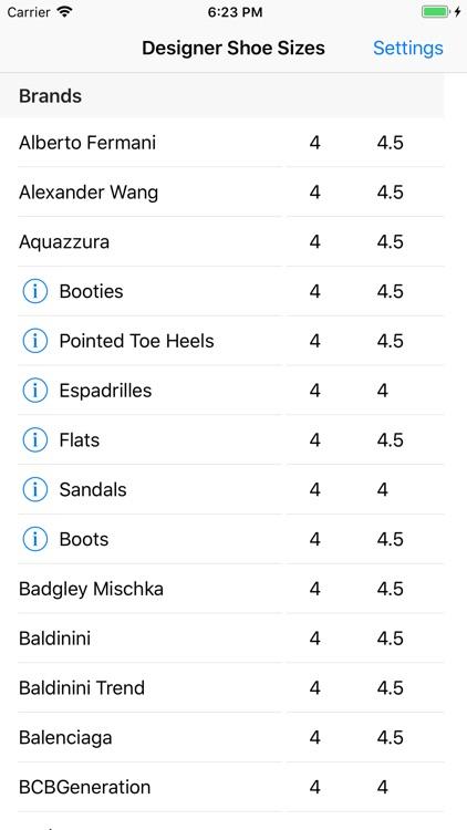 Designer Shoe Sizes