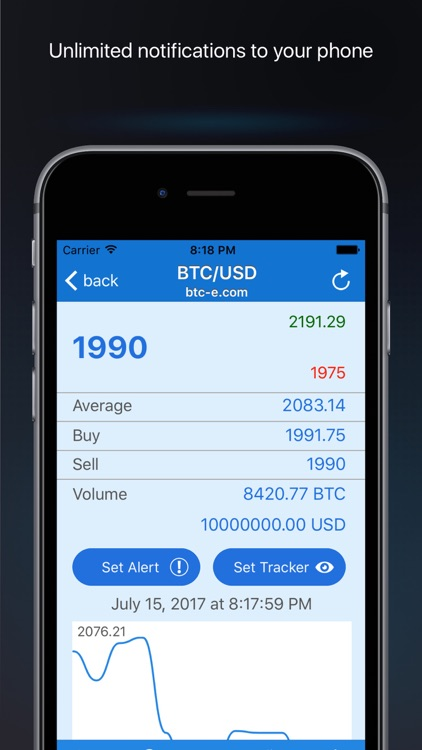 BTC bitcoin price alerts screenshot-1
