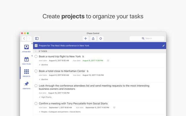 Chaos Control: GTD & Tasks Screenshot