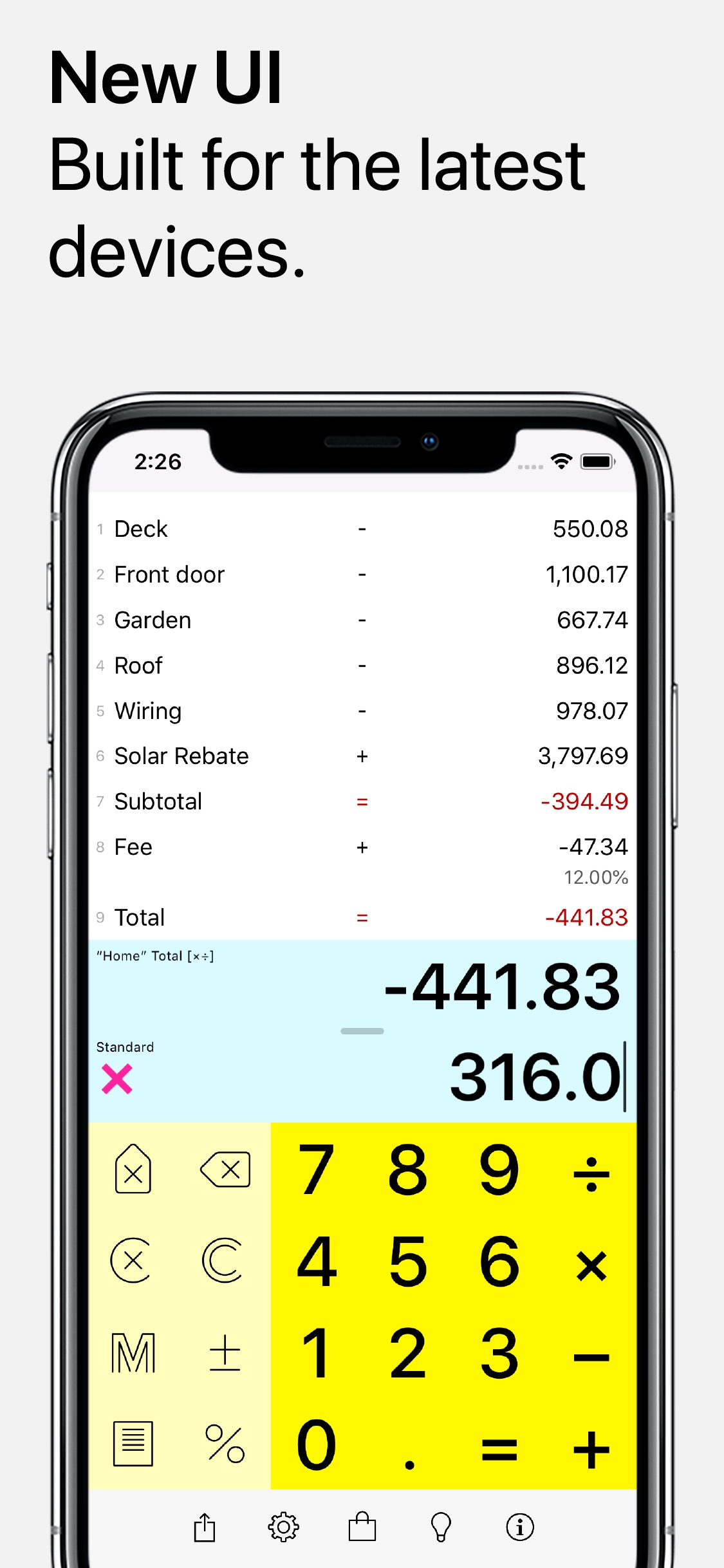 Screenshot do app Digits Tape Calculator