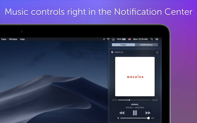 MiniPlay for Spotify & iTunes on the Mac App Store