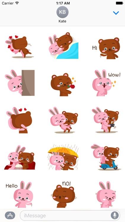Bear and Rabbit Love LoveMoji