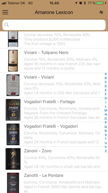 Amarone wine database screenshot-5