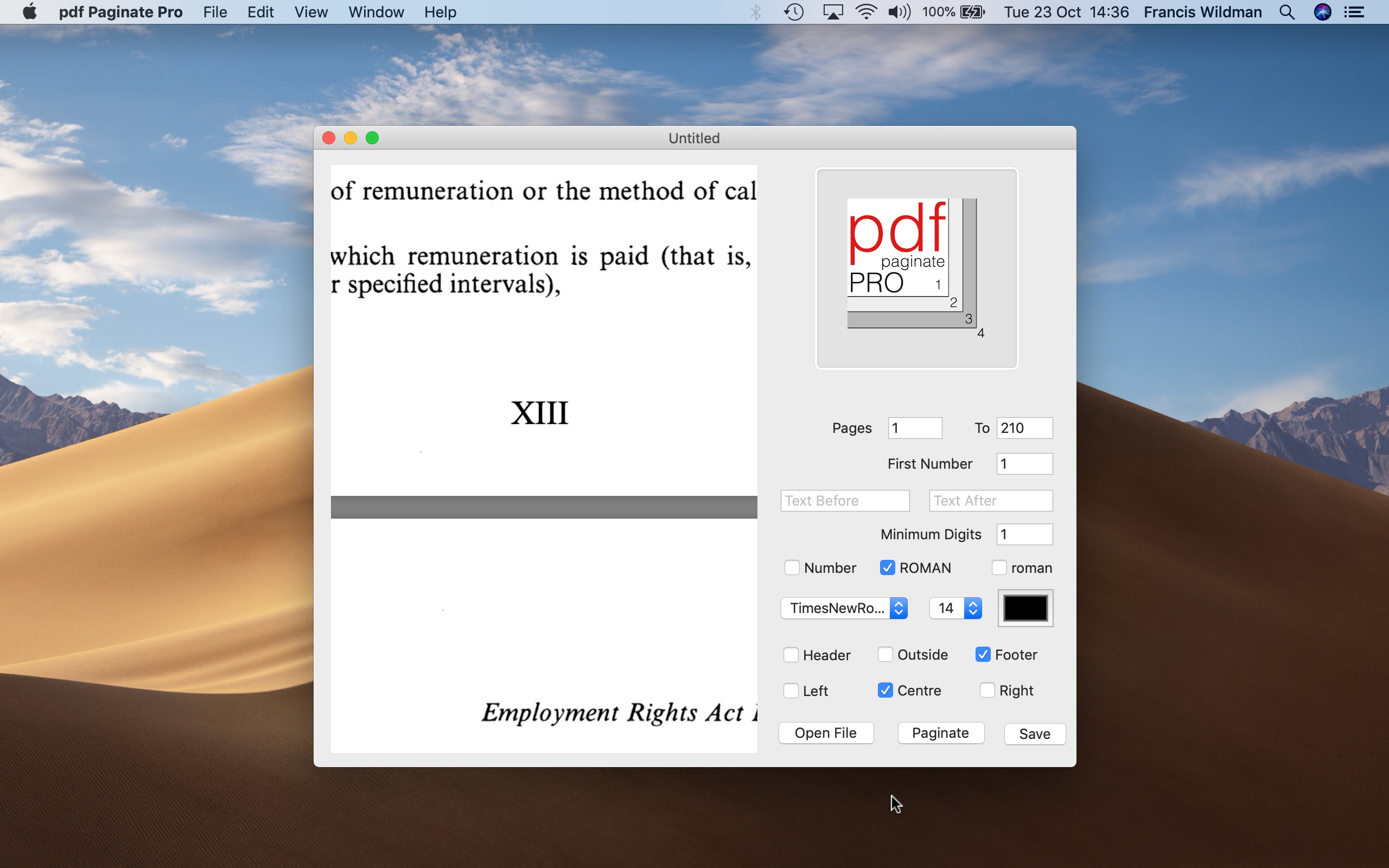Screenshot do app pdf Paginate Pro