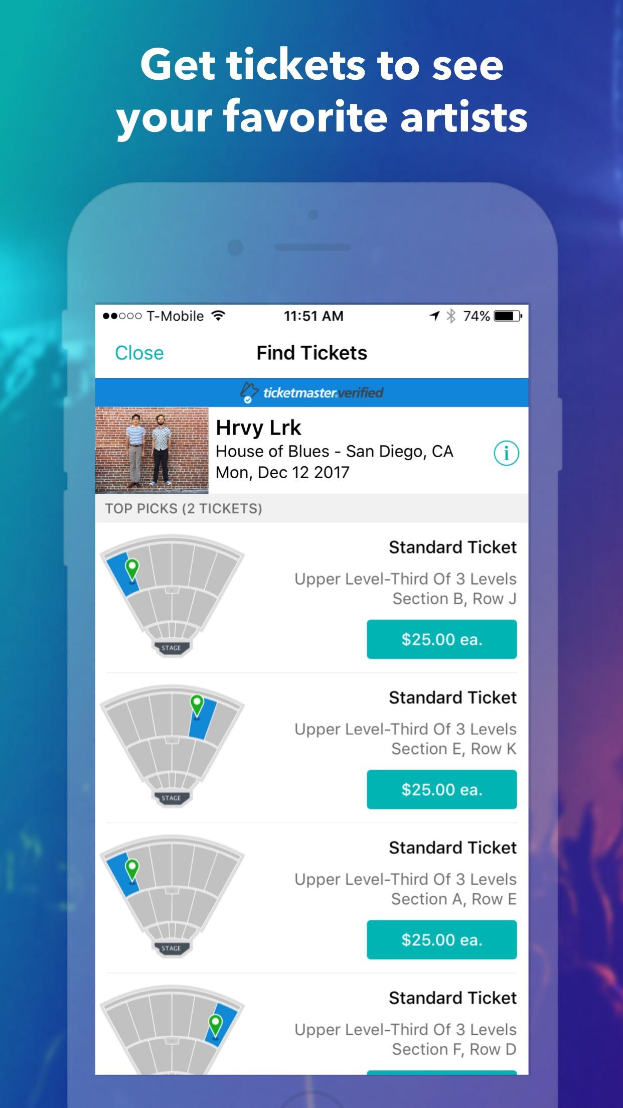 Bandsintown Concerts Screenshot