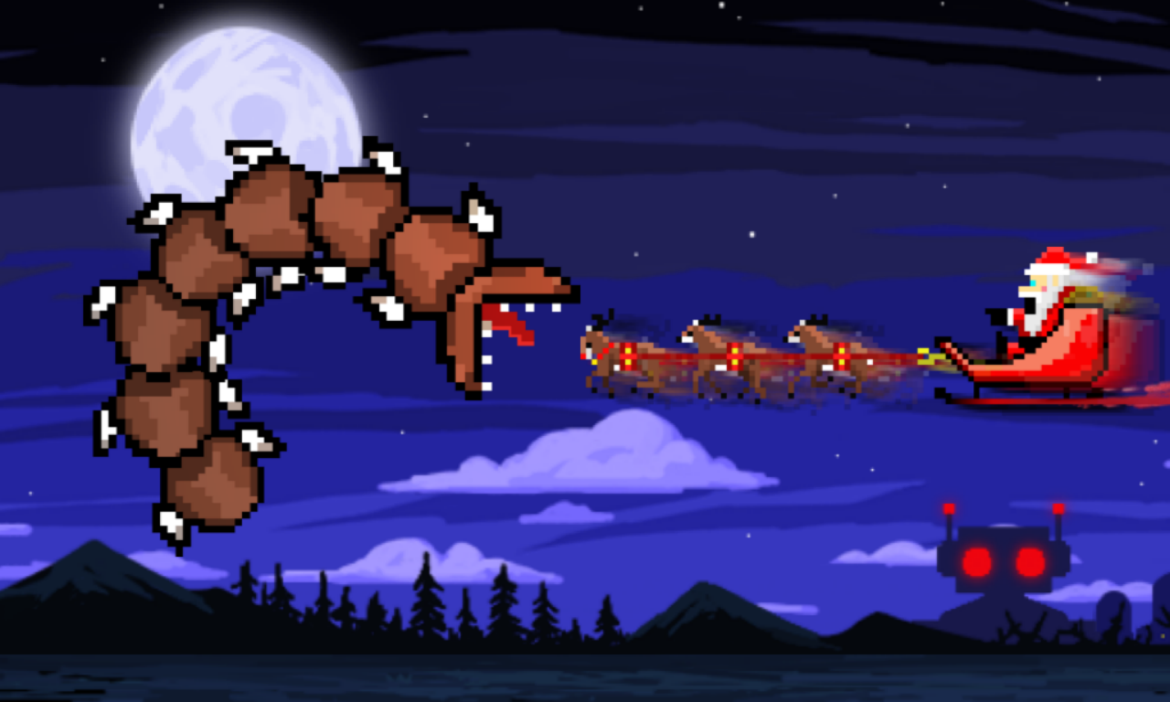 Super Mega Worm Vs Santa Saga