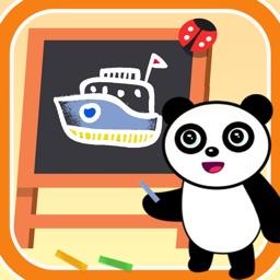 Panda chalk coloring
