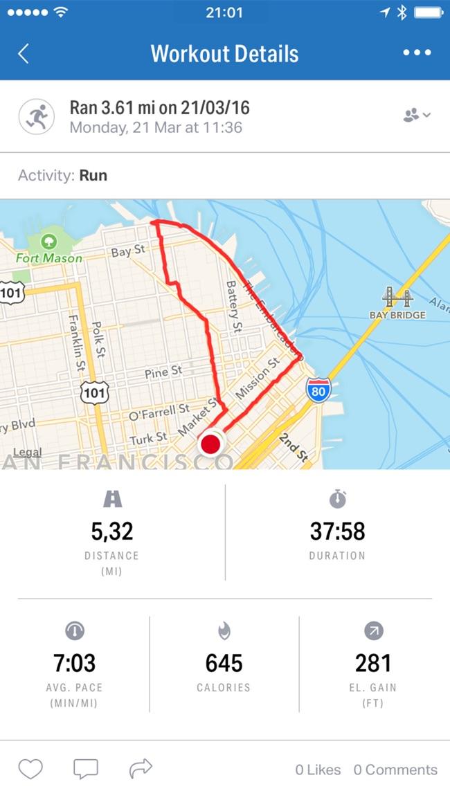Map My Run+ by Under Armour Screenshot