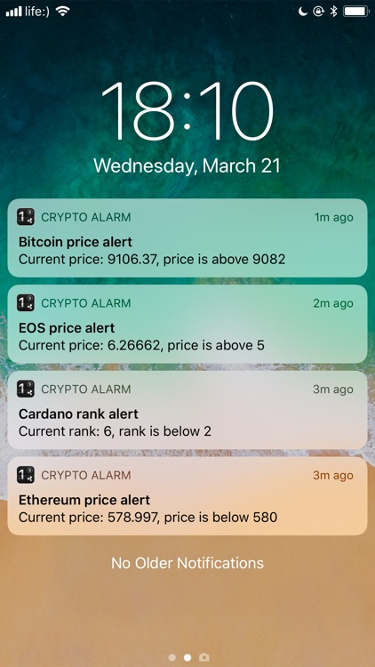 set up alarm for cryptocurrency price