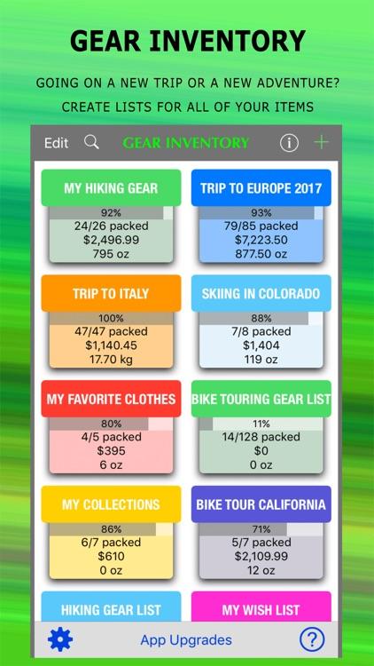 Gear Inventory - Hike & Travel screenshot-0