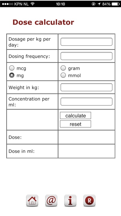 Pediatric dosage calculator