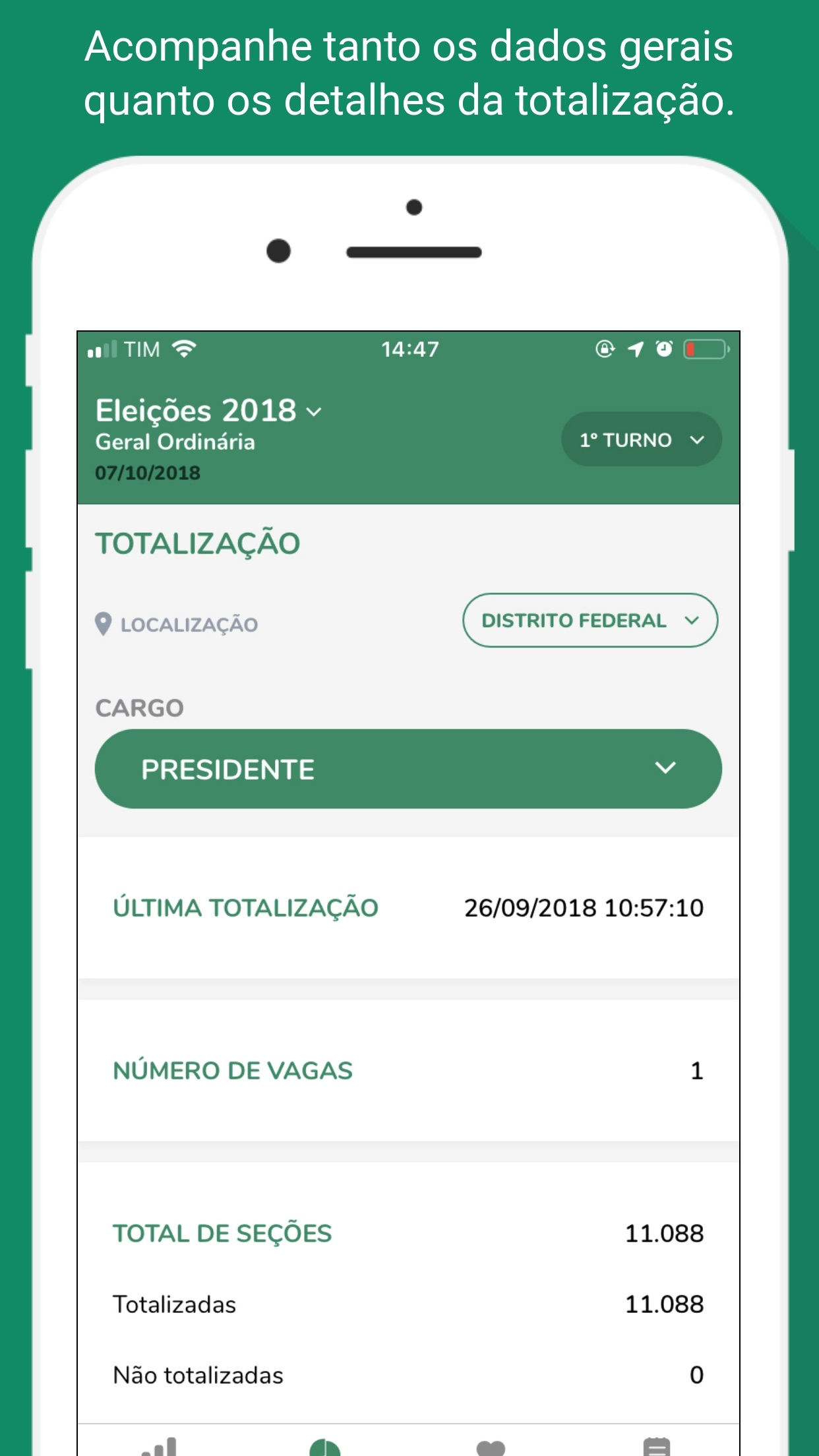 Screenshot do app Resultados