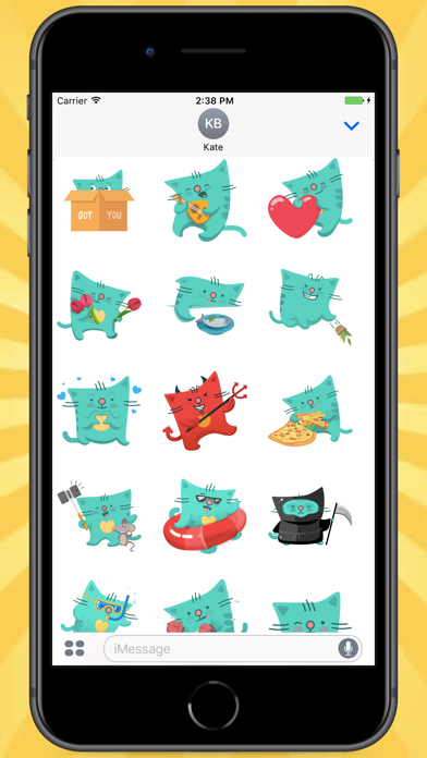 Screenshot for Green Square Cat Stickers in Egypt App Store