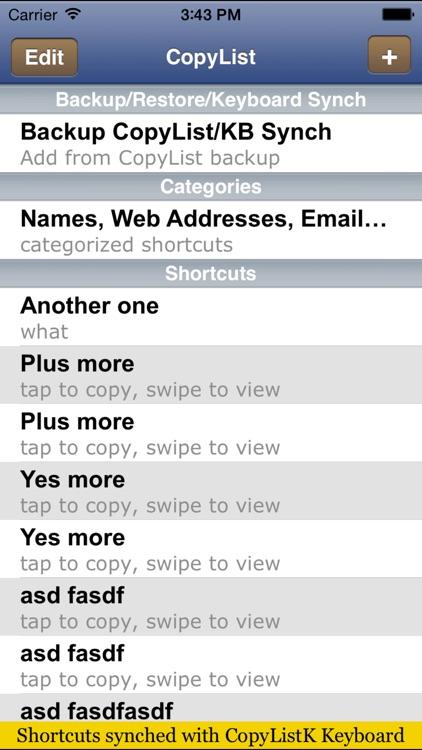 CopyListK shortcuts utility