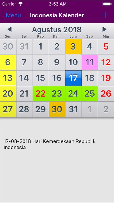 Kalender Indonesia 2019 iPhone