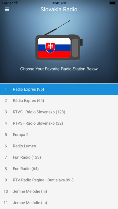 Slovakia Radio Station: Slovak screenshot one