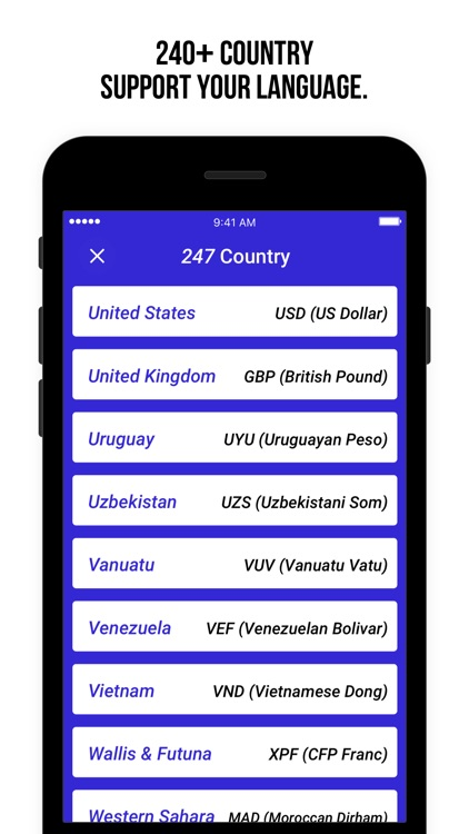 Currency Exchange Rate Calculate 200 Country Screenshot 2
